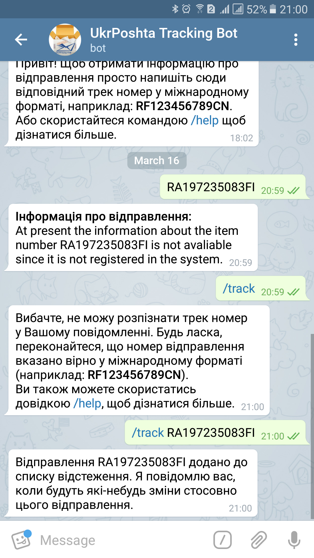 Screenshot Telegram Bot